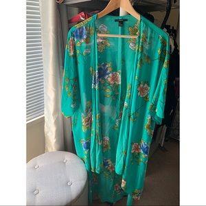 Floral kimono coverup